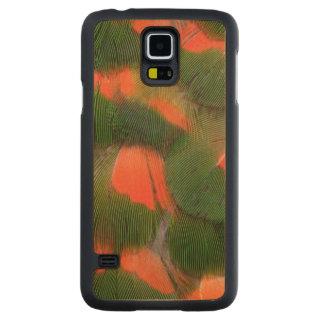 Coque Mince En Érable Galaxy S5 Motif rouge et vert de plume