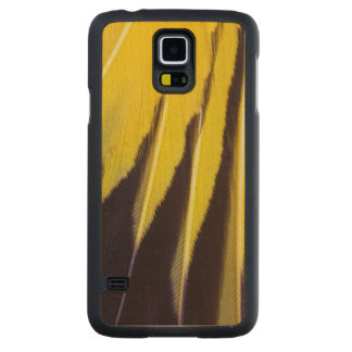 Coque Mince En Érable Galaxy S5 Plumes de Bowerbird éventées par jaune