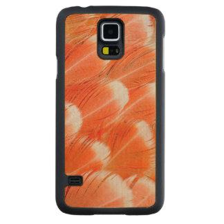 Coque Mince En Érable Galaxy S5 Plumes de Cocatoo colorées par pêche