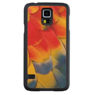 Coque Mince En Érable Galaxy S5 Plumes de couvert d'ara d'écarlate