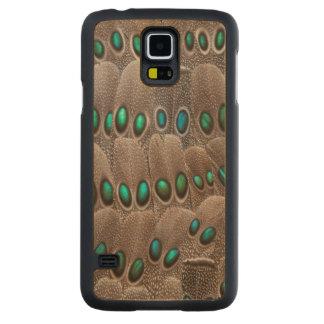 Coque Mince En Érable Galaxy S5 Plumes de faisan repérées par vert