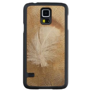Coque Mince En Érable Galaxy S5 Plumes sensibles d'oie