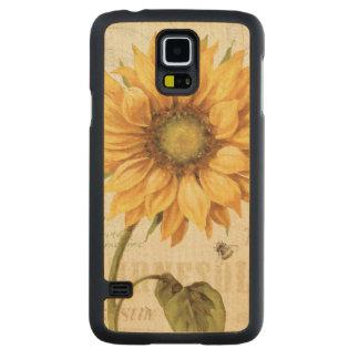 Coque Mince En Érable Galaxy S5 Un tournesol jaune