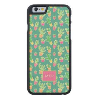 Coque Mince En Érable iPhone 6 Cactus au néon d'aquarelle dans le motif de pots