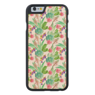 Coque Mince En Érable iPhone 6 Cactus lumineux d'aquarelle et motif succulent