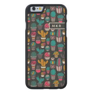Coque Mince En Érable iPhone 6 Cactus tiré par la main dans le motif de style de