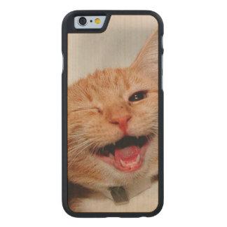 Coque Mince En Érable iPhone 6 Chat clignant de l'oeil - chat orange - les chats