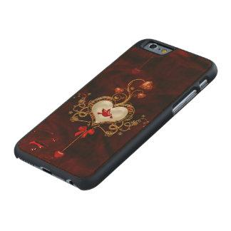 Coque Mince En Érable iPhone 6 Coeur merveilleux avec la colombe