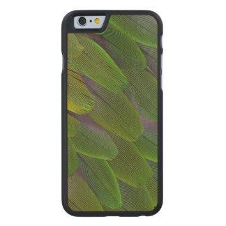 Coque Mince En Érable iPhone 6 Conception verte de plume de perroquet de caïque