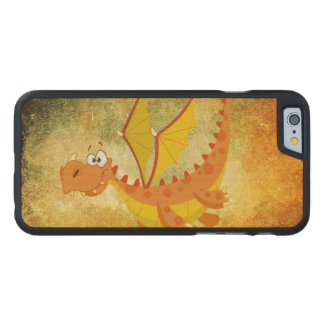 Coque Mince En Érable iPhone 6 Dragon sur une texture orange
