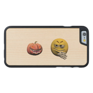 Coque Mince En Érable iPhone 6 Émoticône jaune ou smiley de Halloween