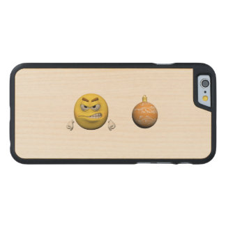 Coque Mince En Érable iPhone 6 Émoticône jaune ou smiley de Noël