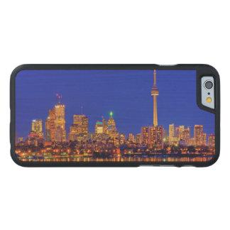 Coque Mince En Érable iPhone 6 Horizon du centre de Toronto la nuit