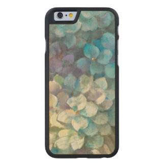 Coque Mince En Érable iPhone 6 Hortensia de turquoise