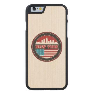Coque Mince En Érable iPhone 6 L'horizon | Etats-Unis de New York diminuent