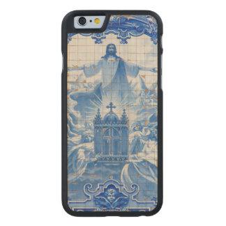 Coque Mince En Érable iPhone 6 Mosaïque bleue de tuile de Jésus, Portugal