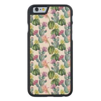 Coque Mince En Érable iPhone 6 Motif d'art de cactus d'aquarelle