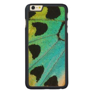 Coque Mince En Érable iPhone 6 Plus aile bleue et verte de papillon