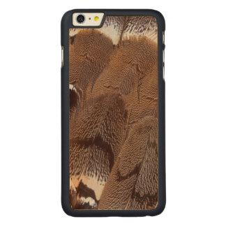 Coque Mince En Érable iPhone 6 Plus Conception de plume de Brown