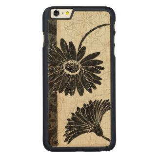 Coque Mince En Érable iPhone 6 Plus Fleurs noires et blanches