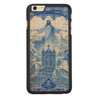 Coque Mince En Érable iPhone 6 Plus Mosaïque bleue de tuile de Jésus, Portugal