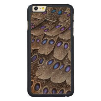 Coque Mince En Érable iPhone 6 Plus Plume de faisan repérée par bleu