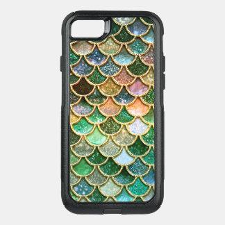 Coque OtterBox Commuter iPhone 8/7 Échelles vertes de sirène d'or de parties