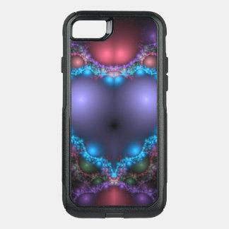 Coque OtterBox Commuter iPhone 8/7 La chaleur bleue abstraite avec la frange au néon