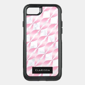 Coque OtterBox Commuter iPhone 8/7 les lèvres roses girly élégantes d'or modèlent le