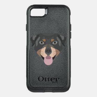 Coque OtterBox Commuter iPhone 8/7 L'illustration poursuit le rottweiler de visage