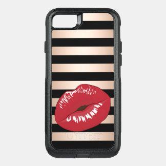 Coque OtterBox Commuter iPhone 8/7 motif rose de rayures de noir d'or de lèvres