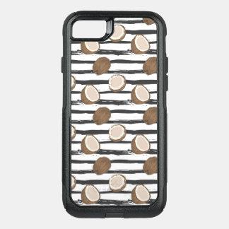 Coque OtterBox Commuter iPhone 8/7 Noix de coco sur le motif grunge de rayures