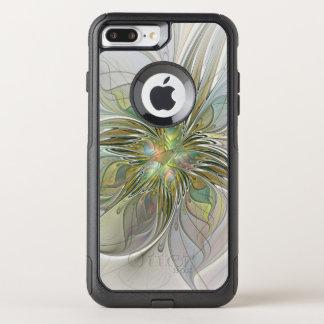 Coque OtterBox Commuter iPhone 8 Plus/7 Plus Fleur moderne d'art de fractale d'imaginaire