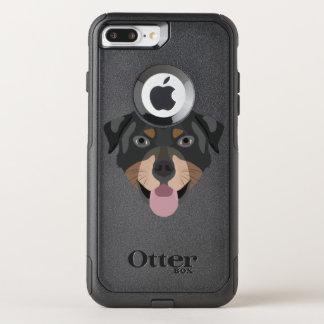 Coque OtterBox Commuter iPhone 8 Plus/7 Plus L'illustration poursuit le rottweiler de visage