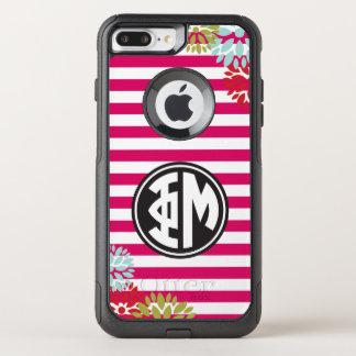 Coque OtterBox Commuter iPhone 8 Plus/7 Plus Motif de rayure de monogramme de la MU | de phi