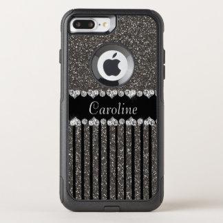Coque OtterBox Commuter iPhone 8 Plus/7 Plus Parties scintillantes grises uniques avec le nom