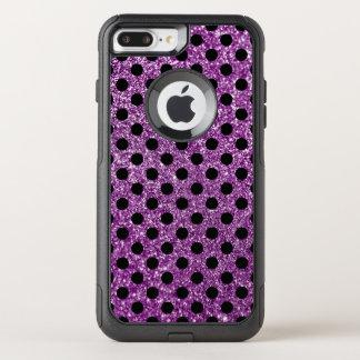 Coque OtterBox Commuter iPhone 8 Plus/7 Plus Scintillement pourpre et point de polka noir