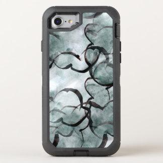 Coque OtterBox Defender iPhone 8/7 avant-garde d'art grise, peinture de main noire