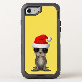 Coque OtterBox Defender iPhone 8/7 Bébé phoque utilisant un casquette de Père Noël