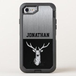 Coque OtterBox Defender iPhone 8/7 Caisse argentée et noire de monogramme de chasse