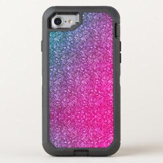 Coque OtterBox Defender iPhone 8/7 Coloré lumineux floral bleu amorti de rose au néon
