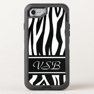 Coque OtterBox Defender iPhone 8/7 Copie noire de zèbre avec le monogramme