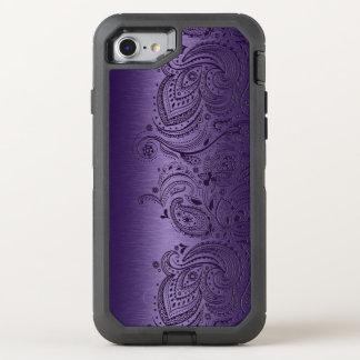 Coque OtterBox Defender iPhone 8/7 Dentelle pourpre de Paisley sur la texture pourpre