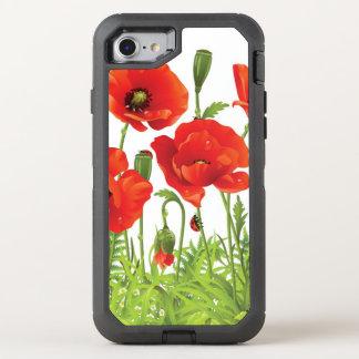 Coque OtterBox Defender iPhone 8/7 Frontière horizontale avec le pavot rouge