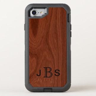 Coque OtterBox Defender iPhone 8/7 Initiales décorées d'un monogramme en bois