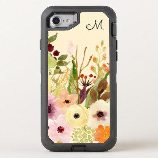 Coque OtterBox Defender iPhone 8/7 L'automne fleurit le monogramme