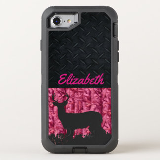 Coque OtterBox Defender iPhone 8/7 Les cerfs communs des femmes chassant le cas