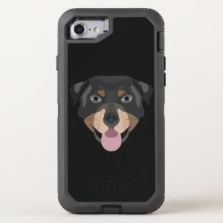 Coque OtterBox Defender iPhone 8/7 L'illustration poursuit le rottweiler de visage