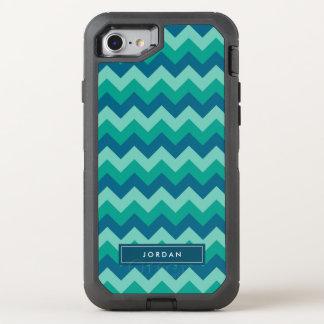 Coque OtterBox Defender iPhone 8/7 Monogramme bleu turquoise de très bon goût à la