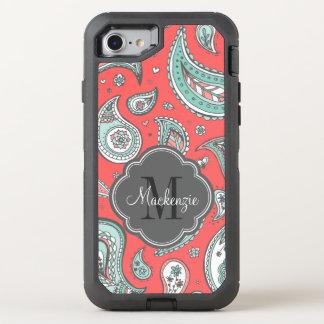 Coque OtterBox Defender iPhone 8/7 Monogramme de Bohème coloré de Paisley